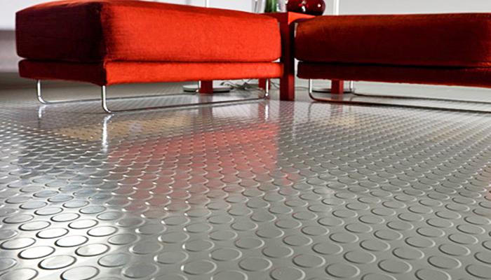 Rubber tile floor